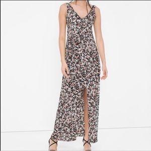 NEW! WHBM v neck hi low floral maxi dress